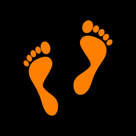 alibi: Foot prints sign. Orange icon on black background. Old phosphor monitor. CRT.