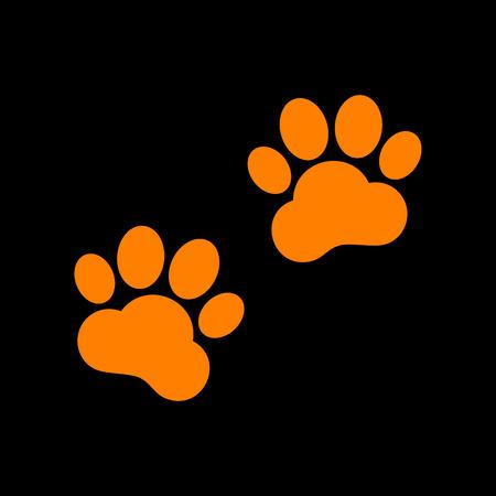 impression: Animal Tracks sign. Orange icon on black background. Old phosphor monitor. CRT.