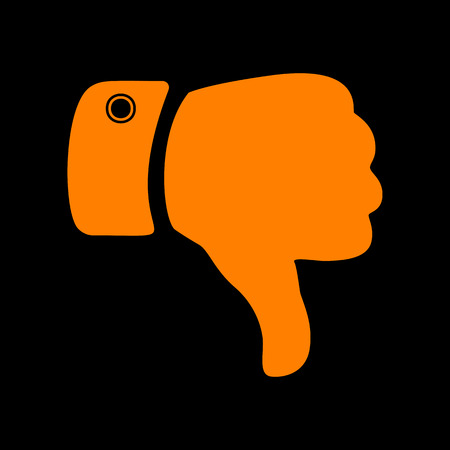 disapprove: Hand sign illustration. Orange icon on black background. Old phosphor monitor. CRT.