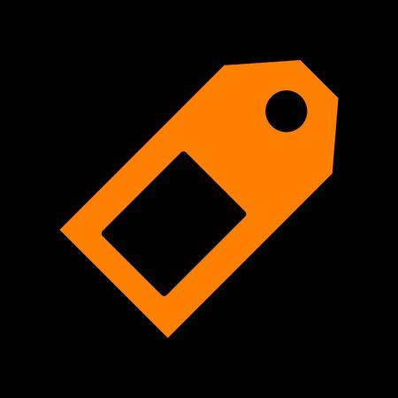 Price tag sign. Orange icon on black background. Old phosphor monitor. CRT.
