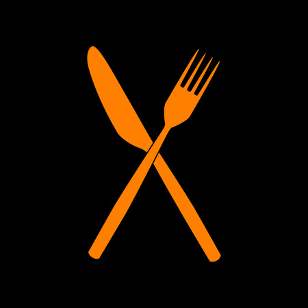 Fork and Knife sign. Orange icon on black background. Old phosphor monitor. CRT.
