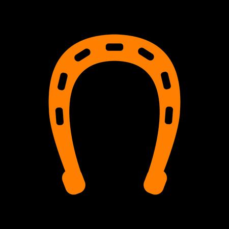 Horseshoe sign illustration. Orange icon on black background. Old phosphor monitor. CRT. Imagens - 73034357