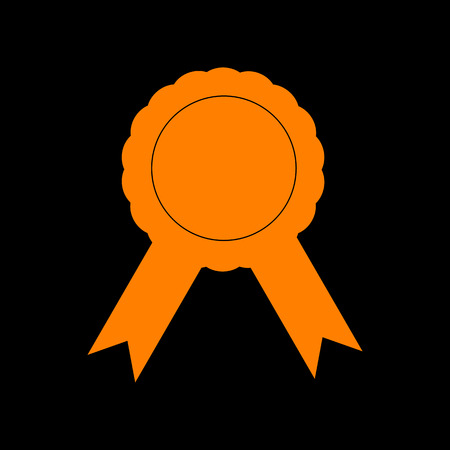 crt: Label sign ribbons. Orange icon on black background. Old phosphor monitor. CRT. Illustration