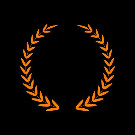 Laurel Wreath sign. Orange icon on black background. Old phosphor monitor. CRT. Imagens - 73034963