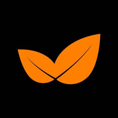 crt: Leaf sign illustration. Orange icon on black background. Old phosphor monitor. CRT.