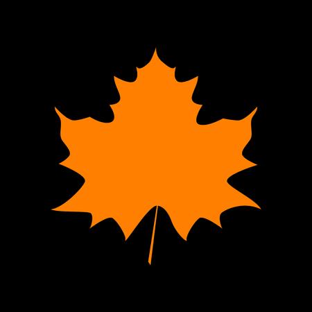 Maple leaf sign. Orange icon on black background. Old phosphor monitor. CRT.