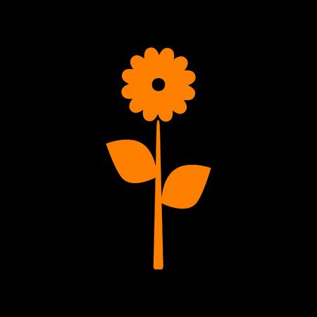 Flower sign illustration. Orange icon on black background. Old phosphor monitor. CRT. Imagens - 73035440