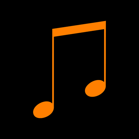 crt: Music sign illustration. Orange icon on black background. Old phosphor monitor. CRT.