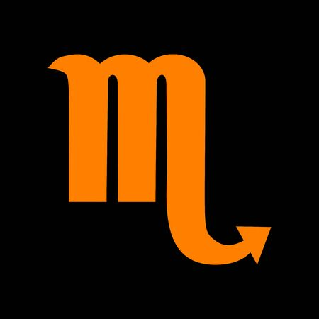 Scorpio sign illustration. Orange icon on black background. Old phosphor monitor. CRT.