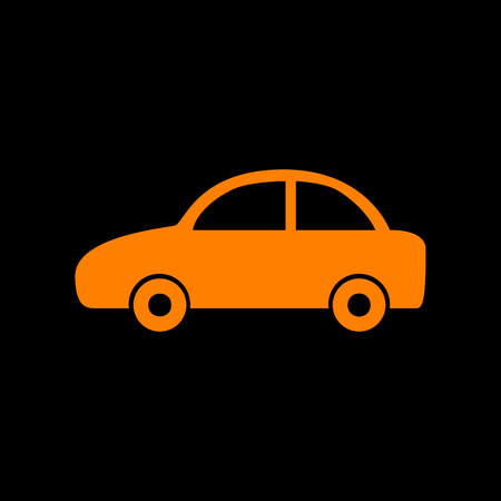 Car sign illustration. Orange icon on black background. Old phosphor monitor. CRT.