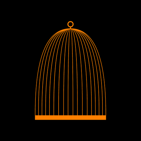 Bird cage sign. Orange icon on black background. Old phosphor monitor. CRT.