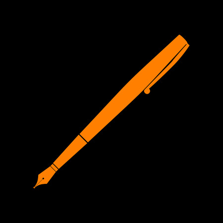 Pen sign illustration. Orange icon on black background. Old phosphor monitor. CRT.