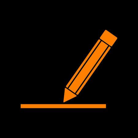 Pencil sign illustration. Orange icon on black background. Old phosphor monitor. CRT.