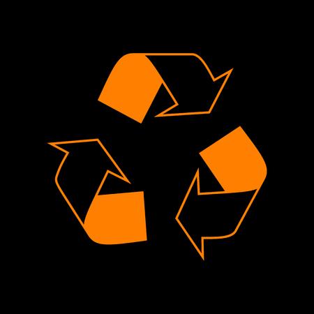 Recycle logo concept. Orange icon on black background. Old phosphor monitor. CRT.