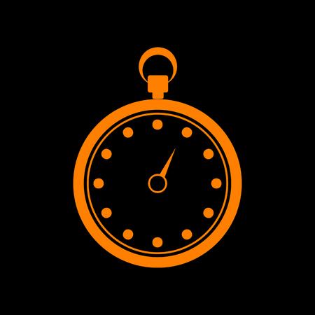 crt: Stopwatch sign illustration. Orange icon on black background. Old phosphor monitor. CRT.