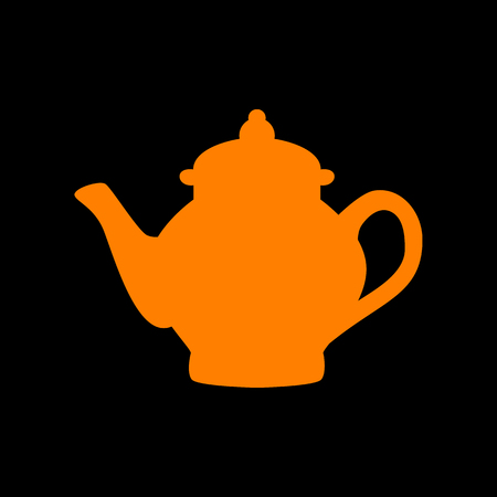 boiler: Tea maker sign. Orange icon on black background. Old phosphor monitor. CRT.