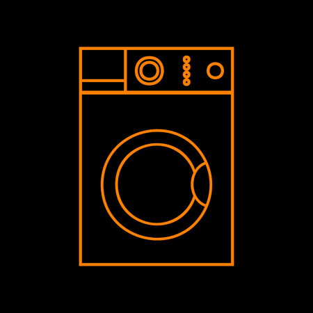 Washing machine sign. Orange icon on black background. Old phosphor monitor. CRT.