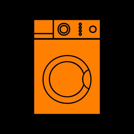 major household appliance: Washing machine sign. Orange icon on black background. Old phosphor monitor. CRT.
