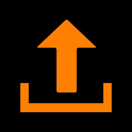 Upload sign illustration. Orange icon on black background. Old phosphor monitor. CRT. Imagens - 73035428