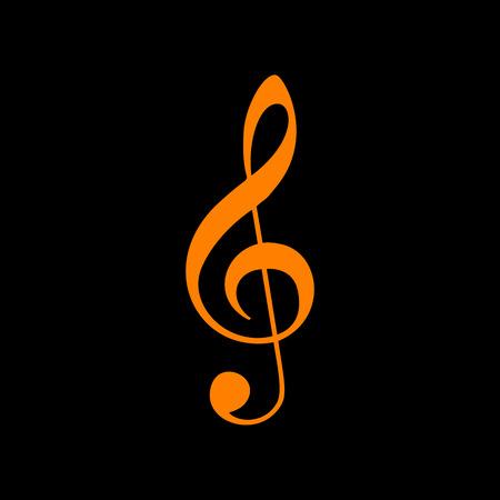 Music violin clef sign. G-clef. Treble clef. Orange icon on black background. Old phosphor monitor. CRT.