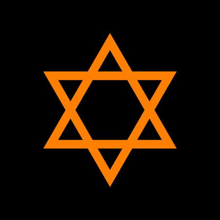 chanukkah: Shield Magen David Star. Symbol of Israel. Orange icon on black background. Old phosphor monitor. CRT.