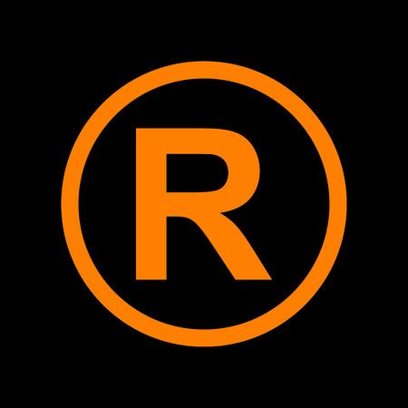 Registered Trademark sign. Orange icon on black background. Old phosphor monitor. CRT. Ilustração
