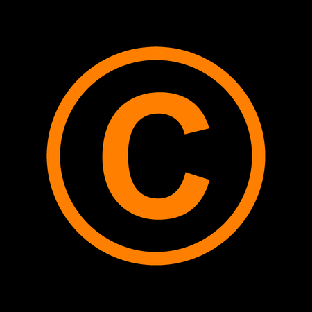 Copyright sign illustration. Orange icon on black background. Old phosphor monitor. CRT. Ilustração