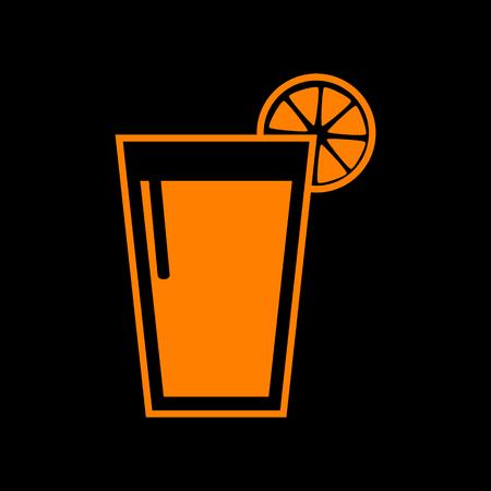crt: Glass of juice icons. Orange icon on black background. Old phosphor monitor. CRT. Illustration