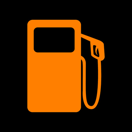 Gas pump sign. Orange icon on black background. Old phosphor monitor. CRT. Imagens - 73047402