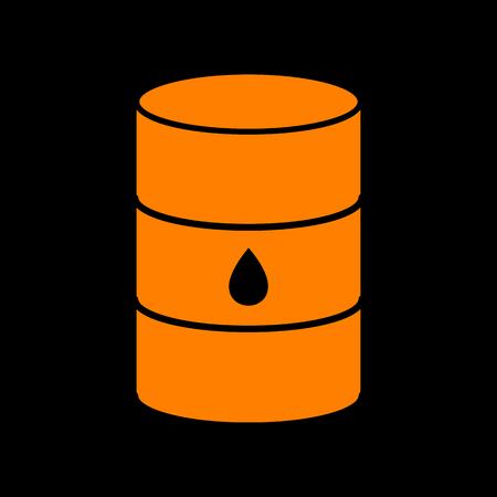 crt: Oil barrel sign. Orange icon on black background. Old phosphor monitor. CRT.