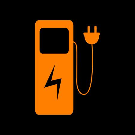 crt: Electric car charging station sign. Orange icon on black background. Old phosphor monitor. CRT.