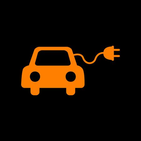 Eco electric car sign. Orange icon on black background. Old phosphor monitor. CRT.
