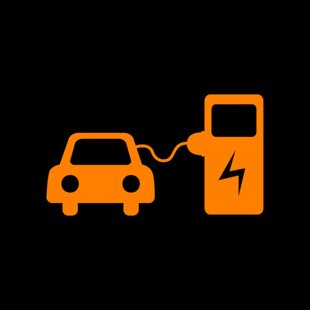 Electric car battery charging sign. Orange icon on black background. Old phosphor monitor. CRT.
