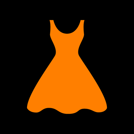 Woman dress sign. Orange icon on black background. Old phosphor monitor. CRT.