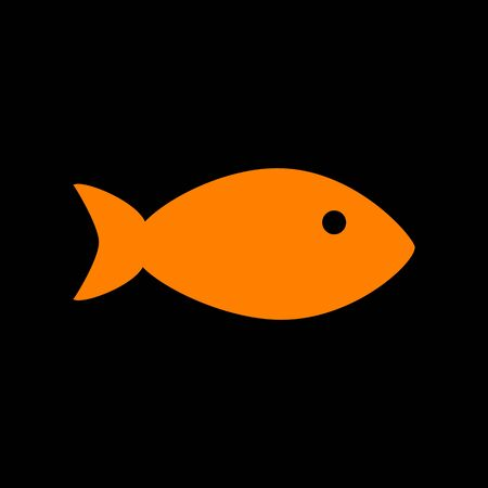 Fish sign illustration. Orange icon on black background. Old phosphor monitor. CRT.