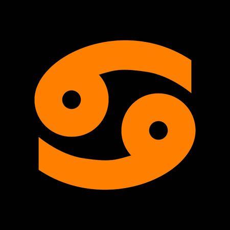 Cancer sign illustration. Orange icon on black background. Old phosphor monitor. CRT.