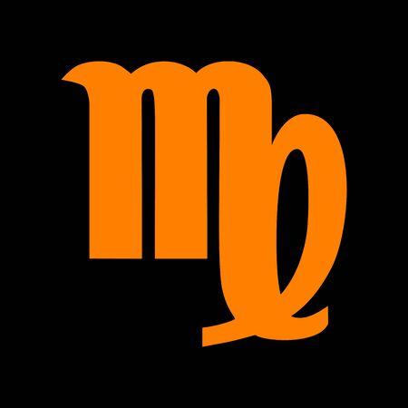 virgo: Ilustración de signo de Virgo. Icono de naranja sobre fondo negro. Viejo monitor de fósforo. CRT. Vectores