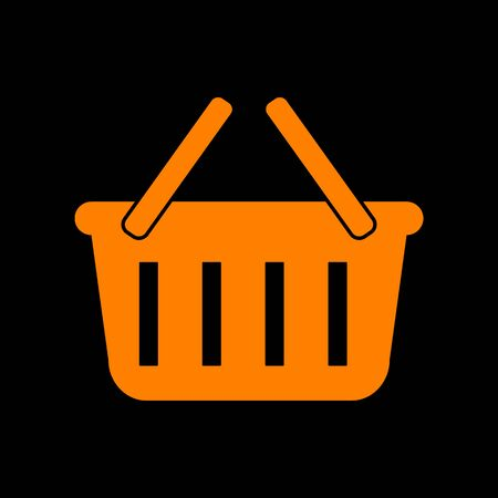 Shopping basket sign. Orange icon on black background. Old phosphor monitor. CRT.