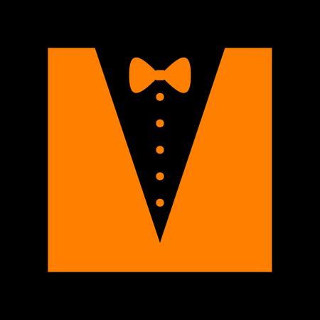 Tuxedo with bow silhouette. Orange icon on black background. Old phosphor monitor. CRT. Imagens - 73035413