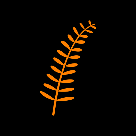 Olive twig sign. Orange icon on black background. Old phosphor monitor. CRT.