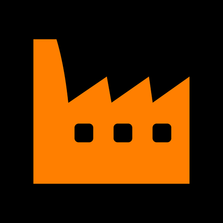 Factory sign illustration. Orange icon on black background. Old phosphor monitor. CRT.