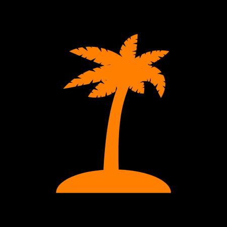 Coconut palm tree sign. Orange icon on black background. Old phosphor monitor. CRT. Ilustração