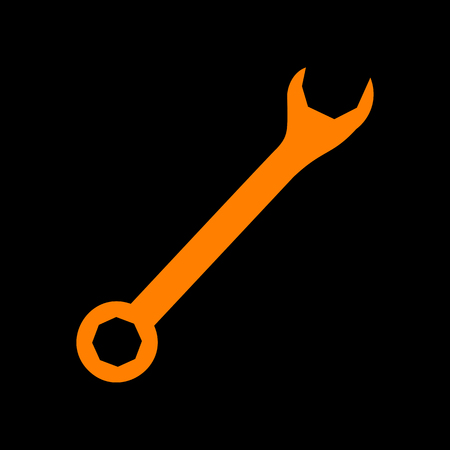 to maintain: Crossed wrenches sign. Orange icon on black background. Old phosphor monitor. CRT.