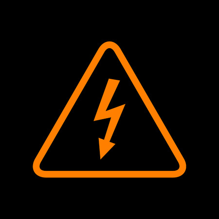 High voltage danger sign. Orange icon on black background. Old phosphor monitor. CRT.
