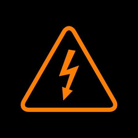 High voltage danger sign. Orange icon on black background. Old phosphor monitor. CRT.