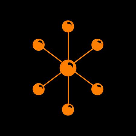 Molecule sign illustration. Orange icon on black background. Old phosphor monitor. CRT.