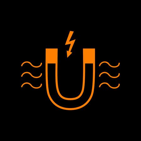 Magnet with magnetic force indication. Orange icon on black background. Old phosphor monitor. CRT.