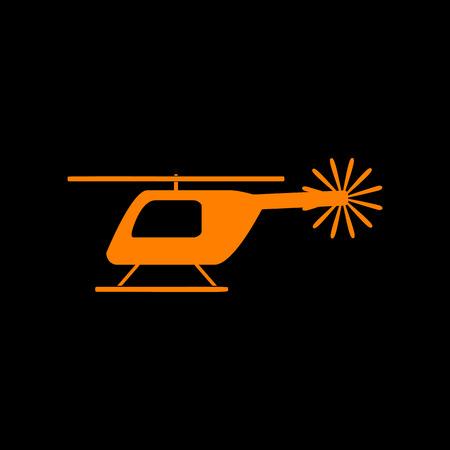 Helicopter sign illustration. Orange icon on black background. Old phosphor monitor. CRT.