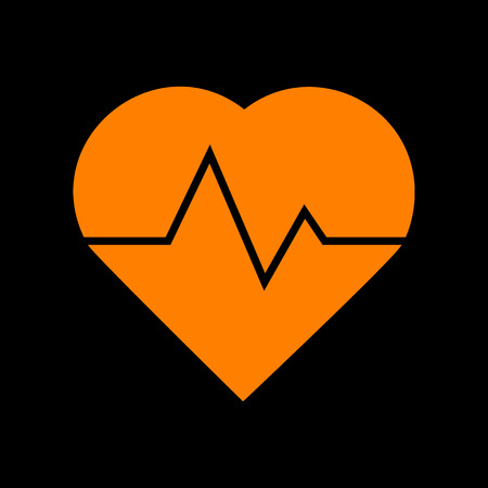 Heartbeat sign illustration. Orange icon on black background. Old phosphor monitor. CRT. Imagens - 73034937
