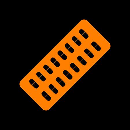 Medical Pills sign. Orange icon on black background. Old phosphor monitor. CRT. Illustration